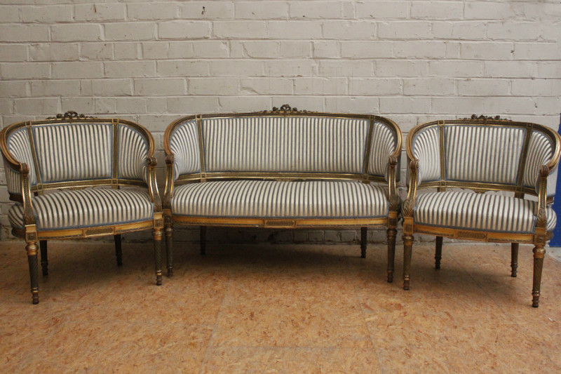 3pc Gilt Louis XVI Sofa Set