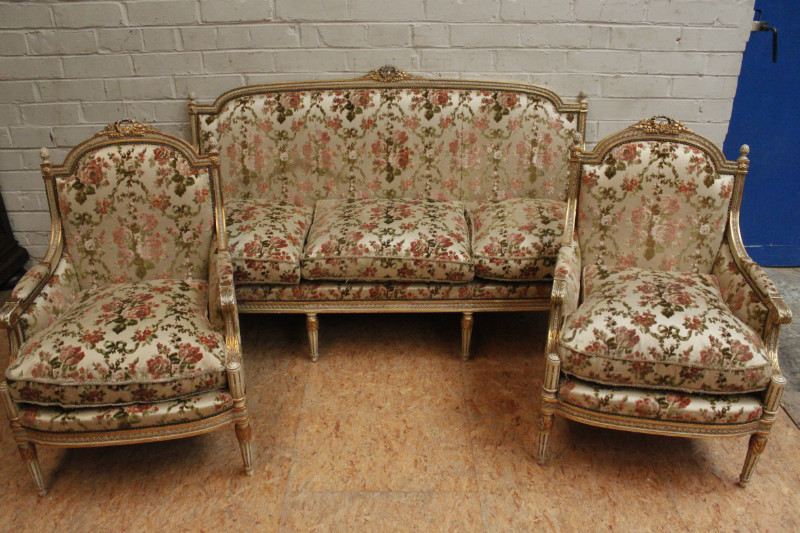 Louis Xvi Style Sofa Set In Paint Gilt Wood France 1900 Seats Houtroos