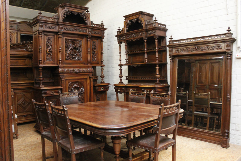 walnut 10 pc monumental henri ii dining set 19th century dining rooms houtroos. Black Bedroom Furniture Sets. Home Design Ideas