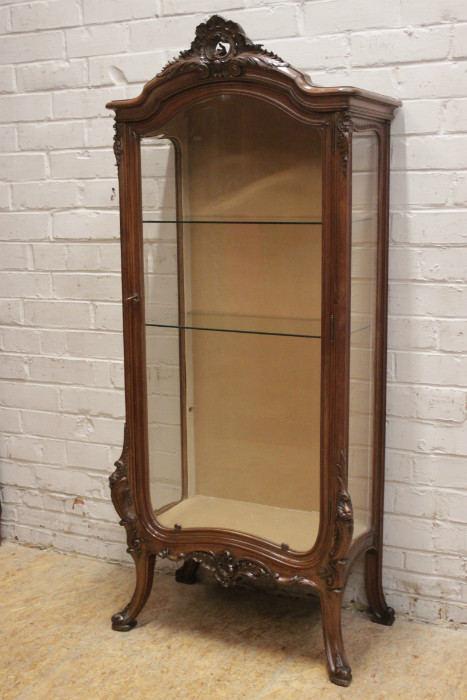 Louis Xv Display Cabinet In Walnut With Beveled Gl
