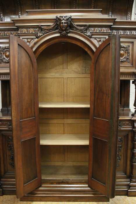 Monumental walnut henri ii castle cabinet cabinets for Castle kitchen cabinets