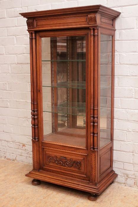 Narrow Henri Ii Style Display Cabinet In Walnut