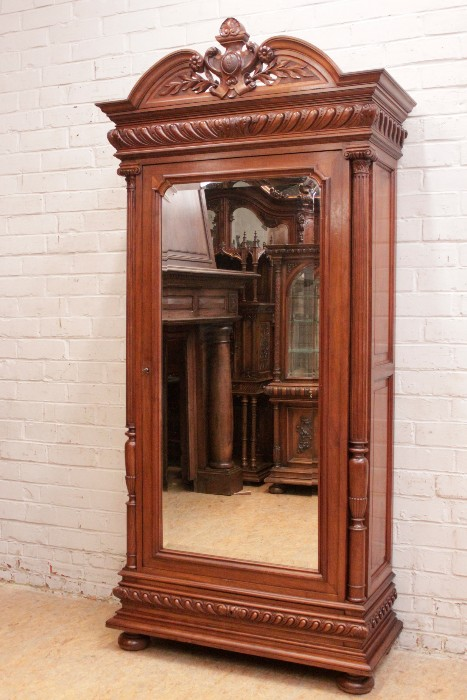 Solid Walnut Henri Ii Style Armoire With Beveled Mirror Houtroos Recent Added Items European Antiques Decorative