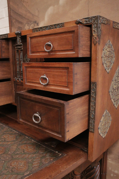 Spanish style cabinet in walnut signed GOUMAIN PARIS - Cabinets ...