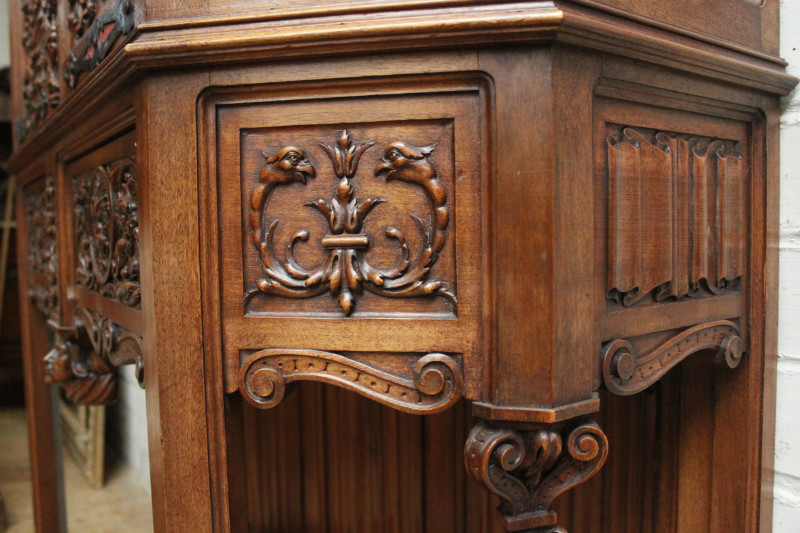 Walnut Gothic Renaissance Cabinet Signed By Bellanger